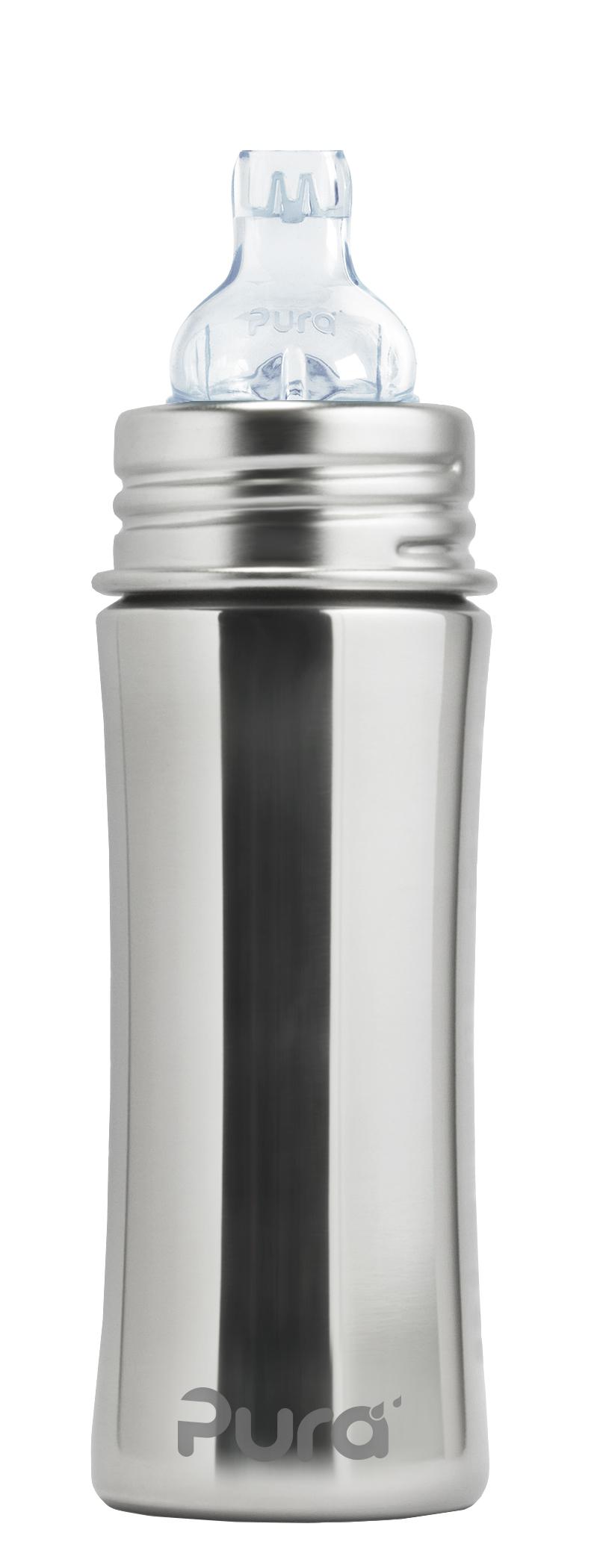 300 ml Edelstahl Sleeve Hülle Pura Kiki Babyflasche mit Sauger plastikfrei